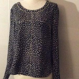 Michael Kors navy white studded L/sleeves blouse#S
